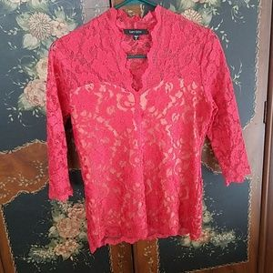 Karen Kane lace top M lined red